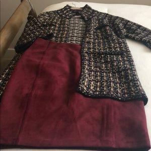 Lambs wool jacket/suede skirt
